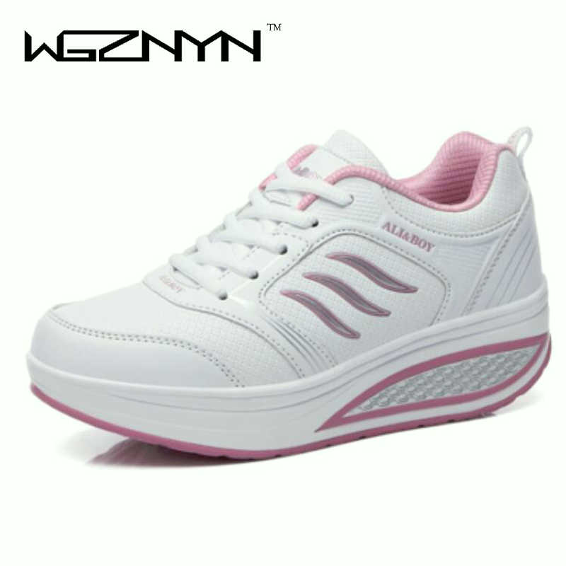 WGZNYN Women casual shoes 2018 New Arrival Walking creepers fashion waterproof wedges platform shoes woman sneakers 35-40 W055