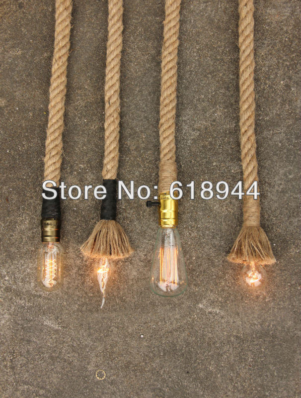 Wholesale American style 2.5M vintage hemp rope pendant lights for dining room modern DIY living room decorating E14 lamp base