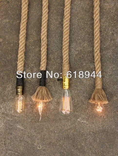 Whole American Style 2 5m Vintage Hemp Rope Pendant Lights For Dining Room Modern Diy Living