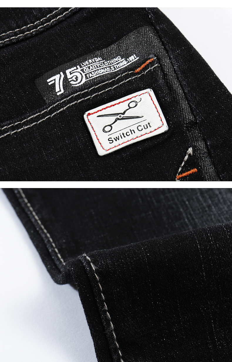 KSTUN Jeans for Men Famous Brand Black 2018 Winter Stretch Business Casual Slim Fit Male Straight