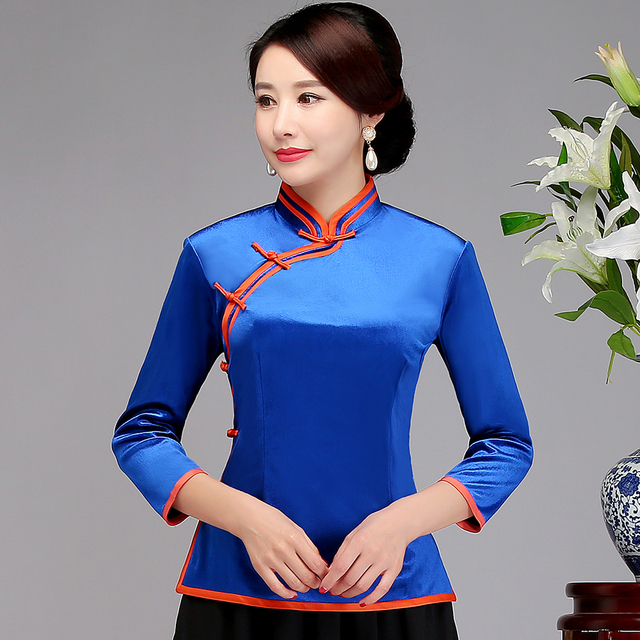 8f68bd2ae66 Vintage Female Traditional Tang Top Shirt Classic Blue Chinese Women Solid  Clothing Improved Gold Velvet Clothes