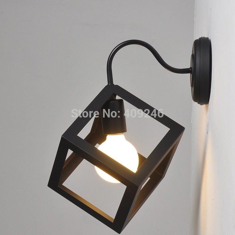 Loft Simple Industrial Decorative Lamp Black Wrought Iron Cube Wall Lamp Bedroom Light Cafe Bar Club