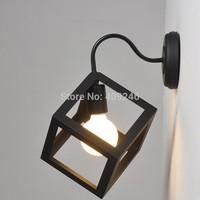 Loft Simple Industrial Decorative Lamp Black Wrought Iron Cube Wall Lamp Bedroom Light Cafe Bar Club