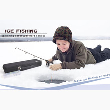 80cm black solid ice fishing rod Assemble complete set of fi