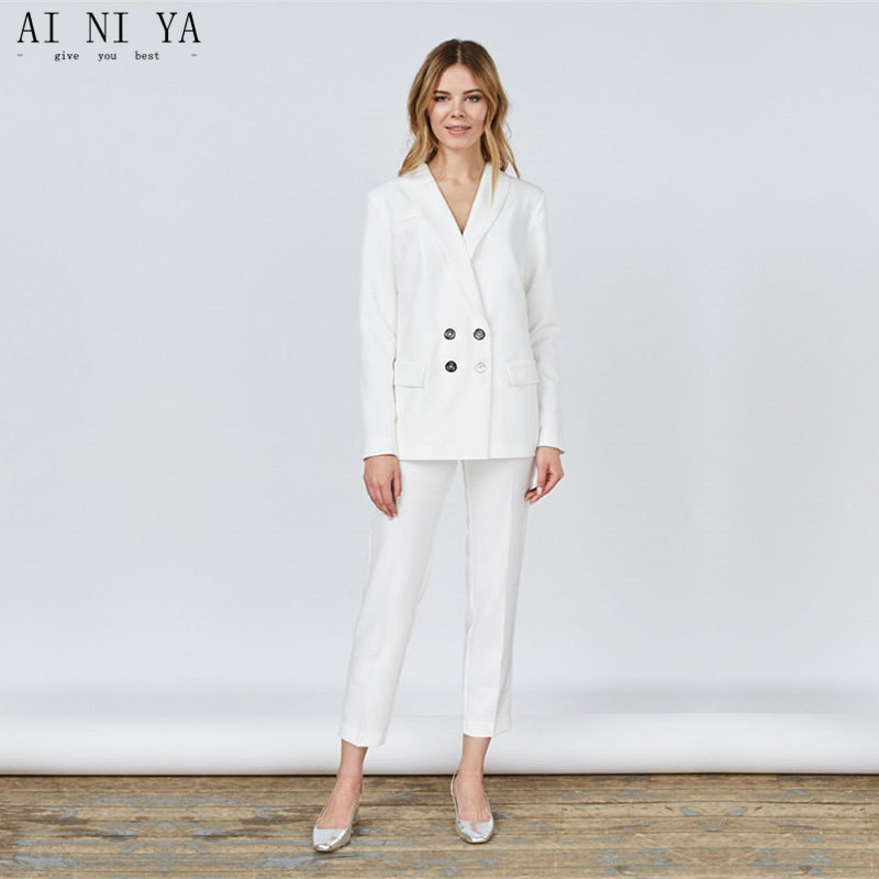 Jacket+Pants White Women Business Suits Blazer Female Office Uniform Ladies Winter Formal Suits Double Breasted 2 Piece Sets