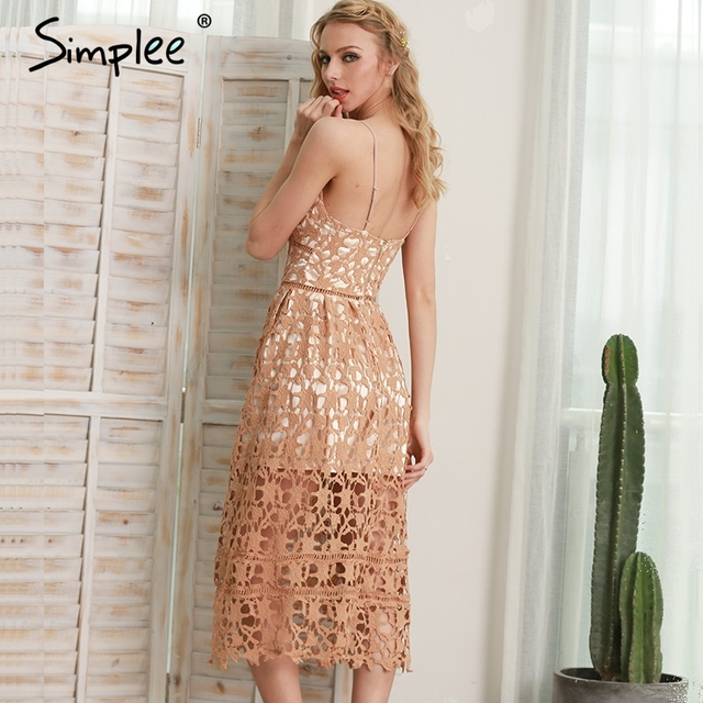 Simplee Padded hollow out lace dress Lined summer dress 2017 women dress shirt Zipper party sundress vestido de festa