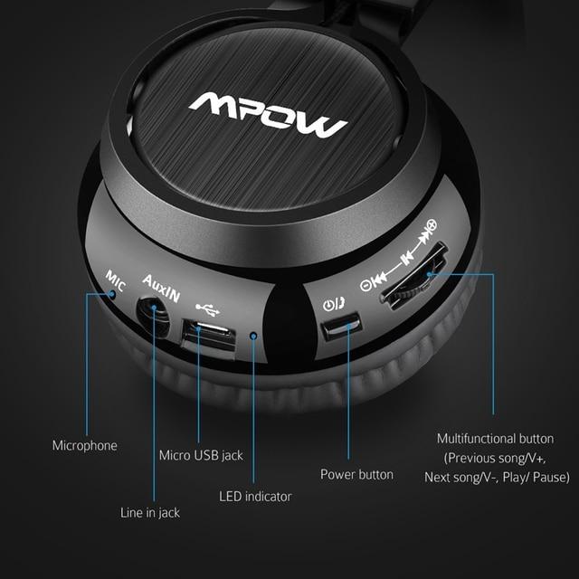 Mpow Thor Foldable Over-Head Wireless Headphones Bluetooth 4.1 Headset Gaming Stereo Headband Earphone Mic for iPhone Xiaomi