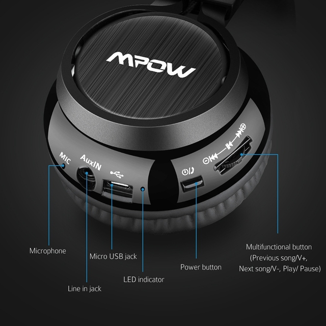Mpow Thor Foldable Over-Head Wireless Headphones Bluetooth 4.1 Headset Gaming Stereo Headband Earphone Mic for iPhone Xiaomi