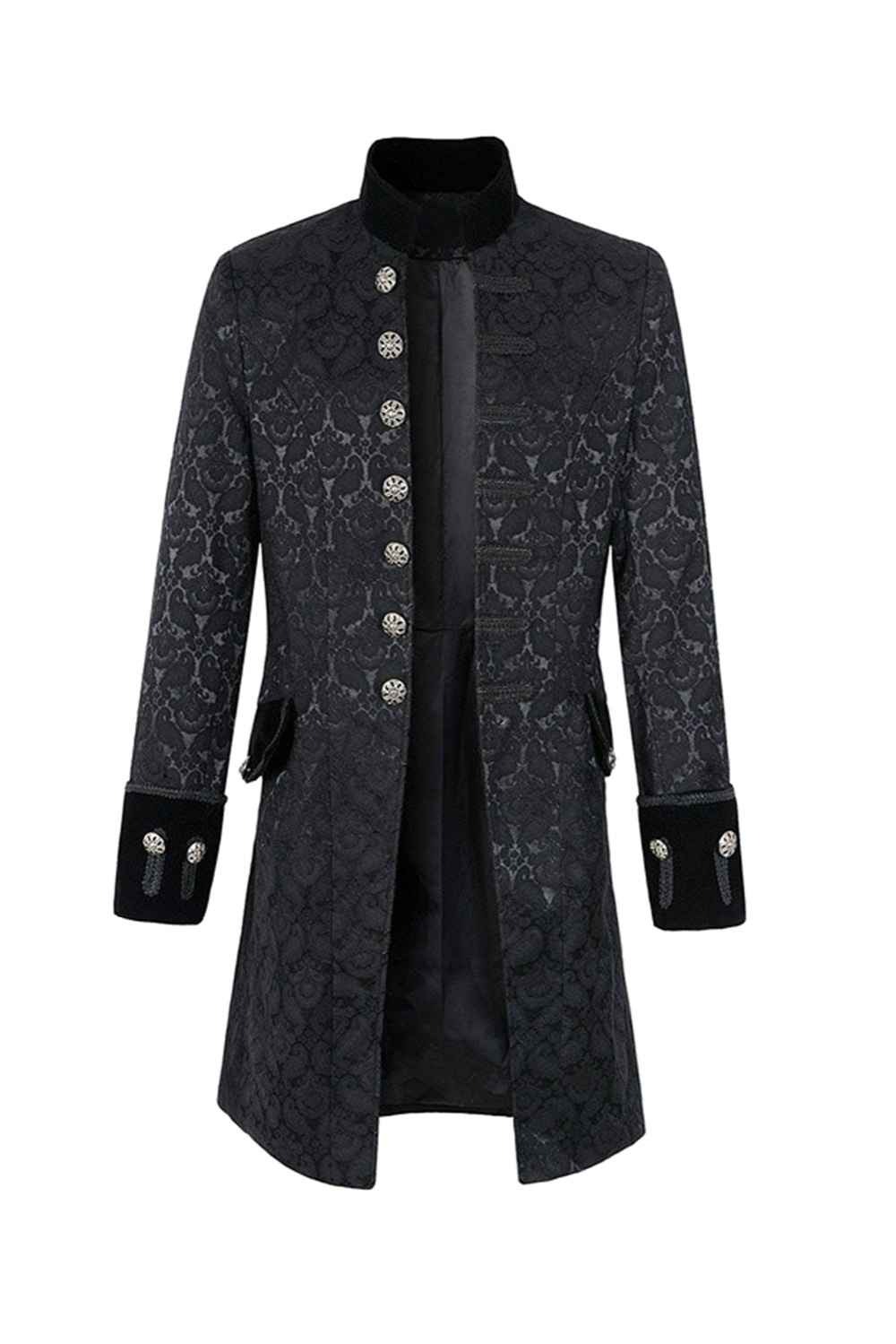 Velvet Goth Steampunk Costume Mens Court Dress Retro Victorian Frock Coat
