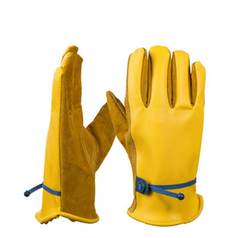 1 Pair Soft PU Leather Garden Work Gloves Cowhide Planting Driver Protective Windproof Duty Safety Gardening Work Gloves CZL8695