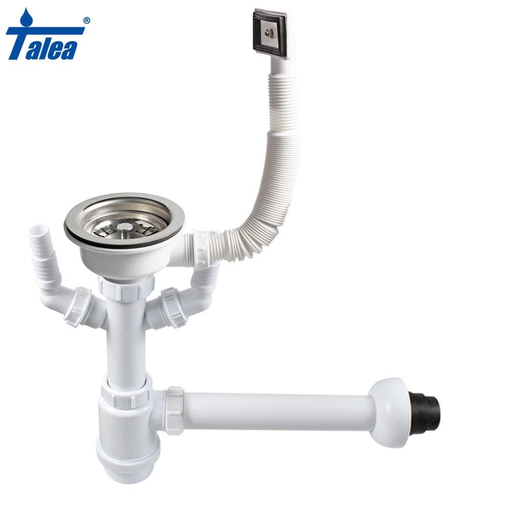 Talea 114&110mm Kitchen Sink Single strainer Basket Drain Set Drain Pipes Basin Pop Up Drain Strainer with overflow downcomer