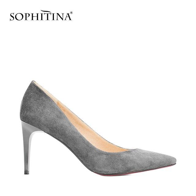 Sophitinaセクシーなハイシンハイヒールはポインテッドトゥの高品質子供スエード結婚式スリップオンシューズファッション浅いホット販売パンプスW08