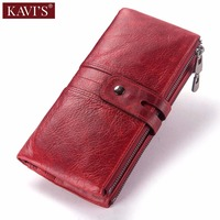 KAVIS Red 100% Genuine Leather Women Wallet Female Coin Purse Hasp Portomonee Clutch Money Bag Lady Card Holder Long Quality