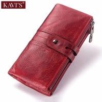 KAVIS Red 100% Genuine Leather Women Wallet Female Coin Purse Hasp Portomonee Clutch Money Bag Lady Card Holder Long Quality