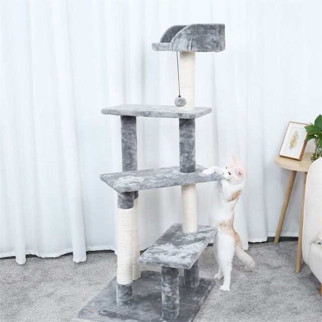 Cat Tree Scratching Post Soft Plush With Sleeping Bed Cat Furniture