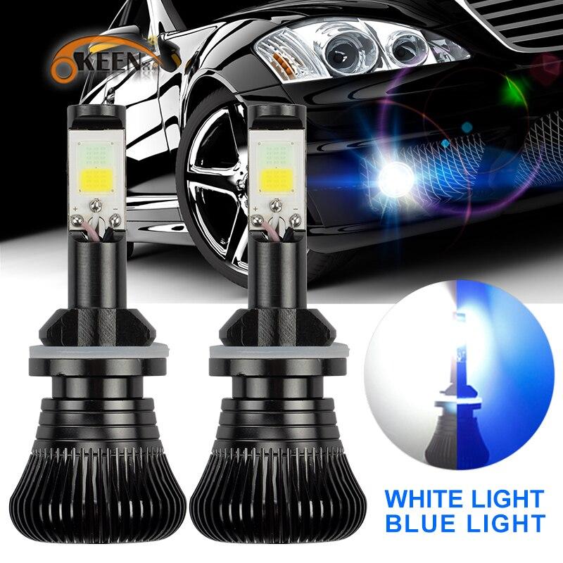 OKEEN 2 pz automobiles H4 h7 led Nebbia Lampadina 6000 k Dual Color 30 W H1 H3 9005 9006 H8 Bianco Blu colore IP68 ha condotto il faro kit