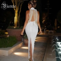 Free Shipping 2018 New Chic Top Design Luxe Pearl Chain Embellished Sexy Sleeveless Wholesale Celebrity Party Maxi Long Dress