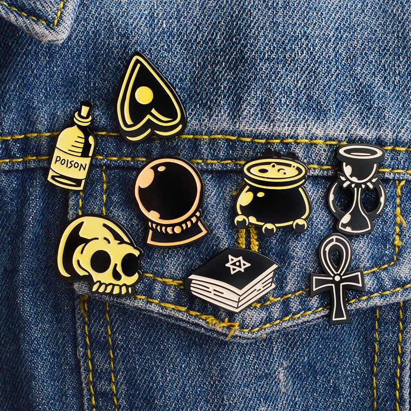 Punk wykwintne Halloween magiczna książka czas klepsydra broszki do kryształowej kuli odznaka szpilki czaszki biżuteria kurtka kurtka akcesoria