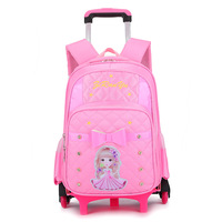 Children School Bags With Wheels Stairs Kids Mochila Infantil Boys Trolley Schoolbag Luggage Book Bags Wheeled