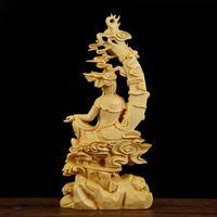 18X8.5X4CM Boxwood Wood Carving Buddha Statue Hindu Fengshui Figurine Handmade Bodhisatva Sculpture Craft Home Decoration Gifts