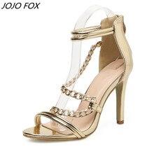 New Golden Sandals Woman Summer Shoes Fashion Street Beat Metal Chain Women Sandals 12 cm peep toe sandals sandalia tacon fino