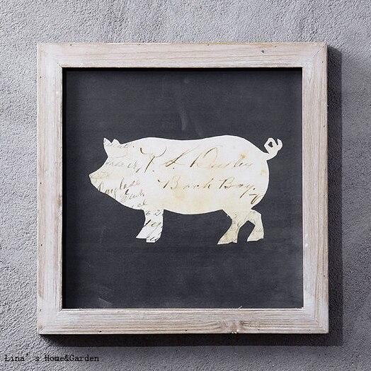 set 3 shabby chic handmade farmhouse decor animal theme wood framed ...