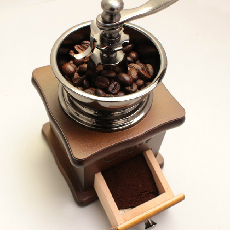 Classical Wooden Manual Coffee Grinder Hand Stainless Steel Retro Coffee Spice Mini Burr Mill High-quality beans milling Grinder 5306 classical wooden manual pepper spice mill grinder muller wood