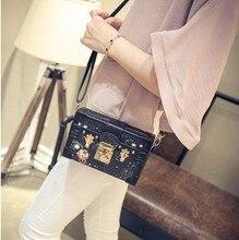 Modische Trunk Bag Für Frauen Gold Schlösser Platz Retro Gut aussehende Muster Für Junge Damen Vintage Style Date Leder handtasche