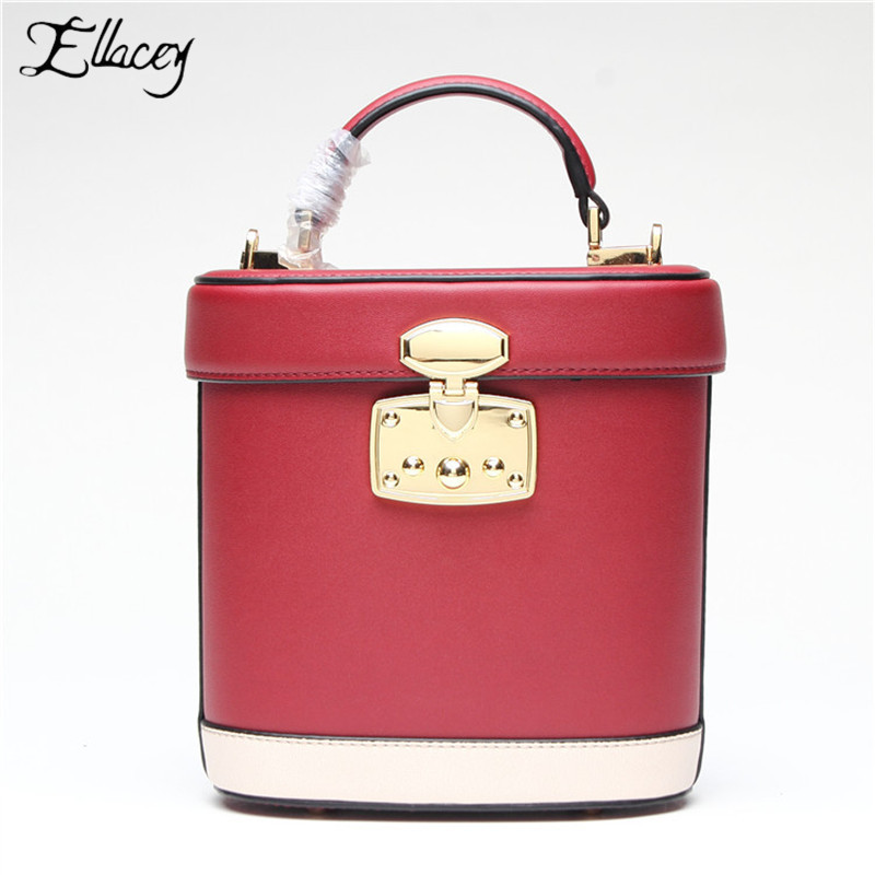 2019 New Fashion Women High Quality Genuine Leather Handbags Ladies Retro Rivet Lock Bucket Bag Shoulder Bag Crossbody Bags 2019 New Fashion Women High Quality Genuine Leather Handbags Ladies Retro Rivet Lock Bucket Bag Shoulder Bag Crossbody Bags