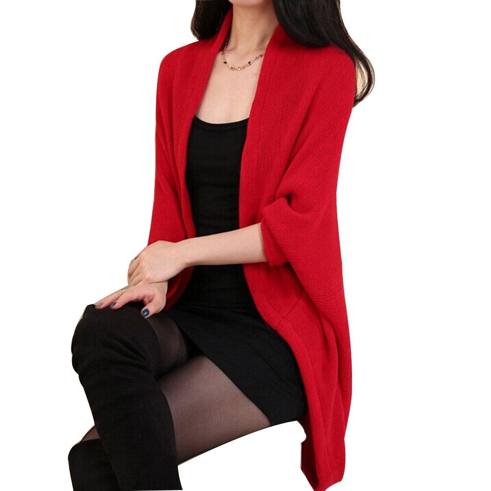 2017 Sweater Women Loose Shawl Batwing Sleeve Lady Knit Sweater Coat Woolen Women Cardigans Jacket Red