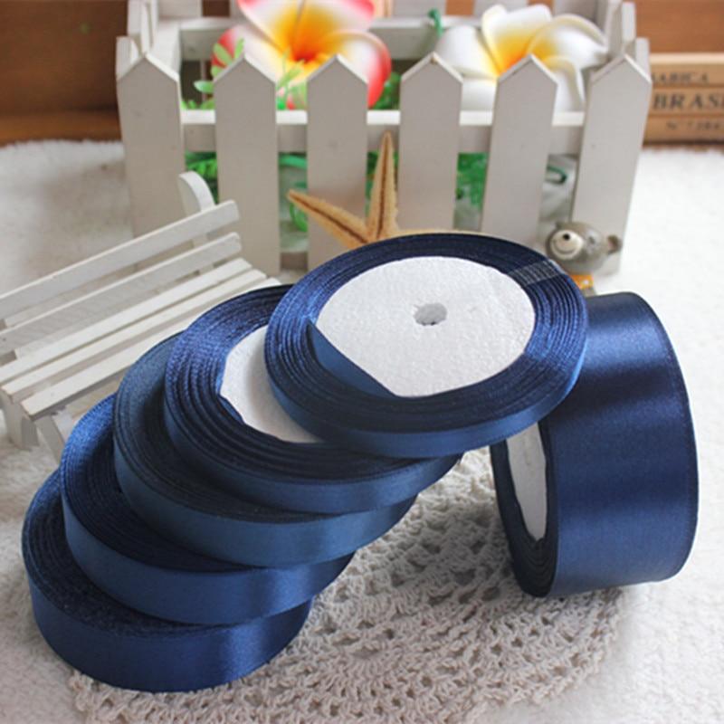 25 ярдов чернильно синий шелковый атлас ленты Свадебная вечеринка для упаковки подарков Рождество Новый год одежда Вышивание ткань