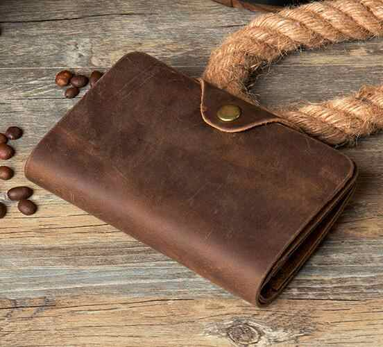 Fashion Vintage Crazy Horse Leather Wallet Genuine Leather Men Wallet Casual Long Money Clip Leather Coin Bag Clutch Bag Brown