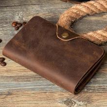 Fashion Vintage Crazy Horse Leather Wallet Genuine