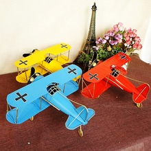 Retro aircraft model home bar decoration window ornaments handmade metal craft double wings airplane