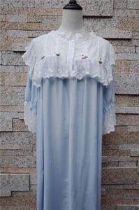 Image 5 - Camisones de estilo victoriano para mujer ropa de dormir Vintage, de algodón de encaje púrpura, para el hogar, T284