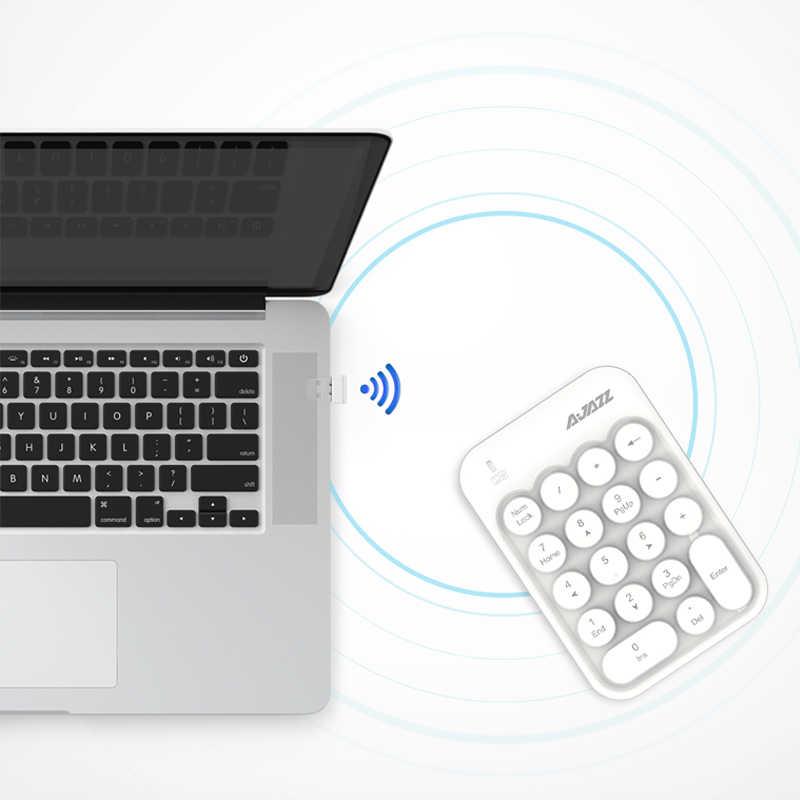 جديد المحمولة Ajazz AK18 2.4 جرام اللاسلكية الرقمية لوحة المفاتيح USB عدد وسادة 18 مفاتيح لوحة رقمية صغيرة لأجهزة الكمبيوتر المحمول دفتر سطح المكتب