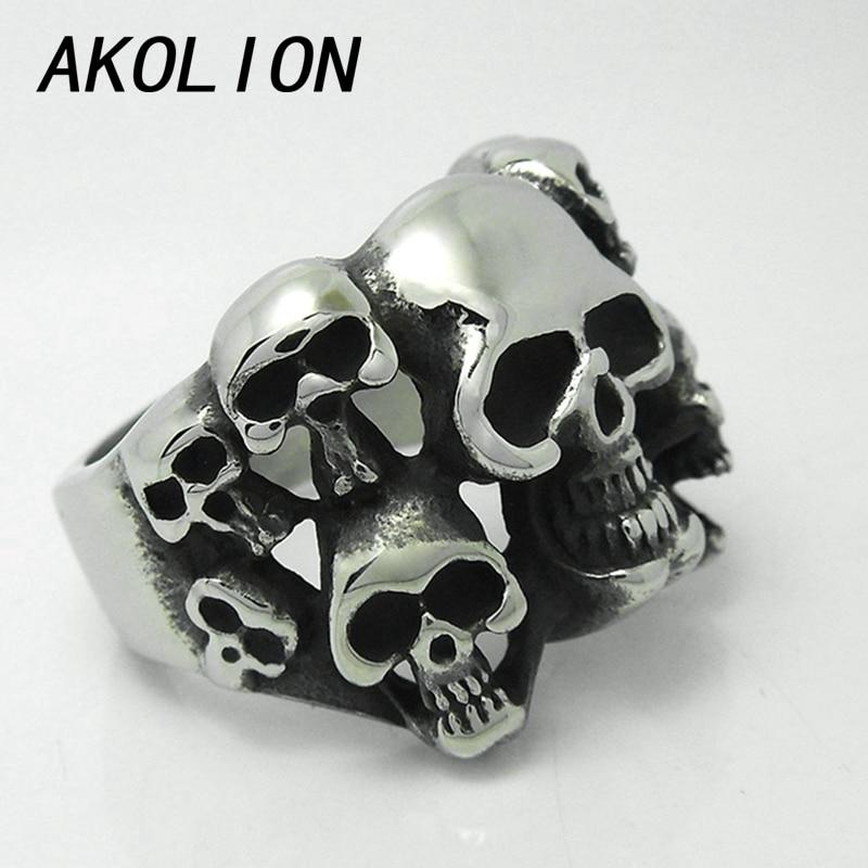 akolion punk silver rings men jewellery one piece skull titanium man ring set joias bijoux anel aneis bague anelli anillos - Skull Wedding Ring Sets