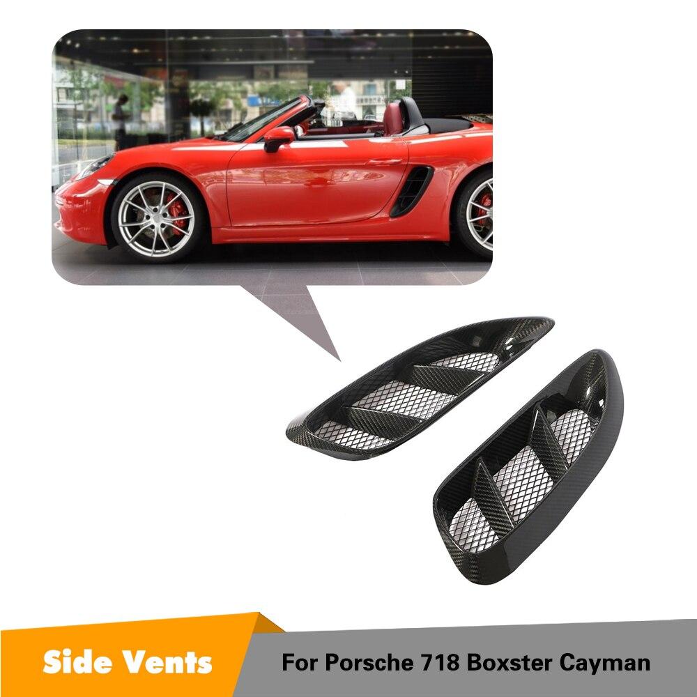 Véritables évents latéraux en Fiber de carbone pour Porsche 718 Boxster Cayman accessoires de voiture Kits de carrosserie style évents latéraux 2016-2018