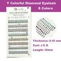 Envío Gratis Y Glitter 8 Colores Nuevo Profesional Y Extensión de Pestañas de Extensión de Pestañas Con El Diamante 12mm longitud