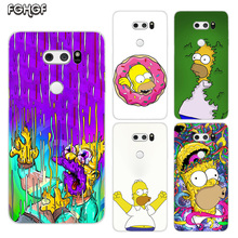 Homer J.Simpson Painted Pattern Soft Rubber TPU Case For LG Q8 Q7 Q6 G6 G7 G5 G4 V40 V30 V20 V10 Transparent Cover