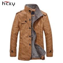 HCXY Brand 2016 Men's Winter Jacket Men PU Leather Motorcycle Warm Jackets Plus velvet Windbreaker Male Casual Long Coat 4XL