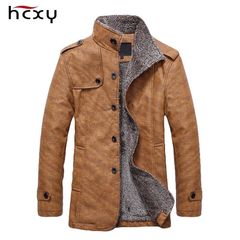 HCXY marca 2016 chaqueta de invierno para hombre, chaqueta de cuero PU, chaquetas cálidas para motocicleta, más cazadora de terciopelo, abrigo largo informal para hombre 4XL