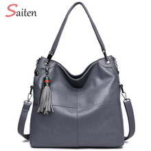 2018 New Soft Leather Women Shoulder Bag Black Pu Leather Women Handbag Double Zipper Vintage Crossbody Bag Stitching Bags sac