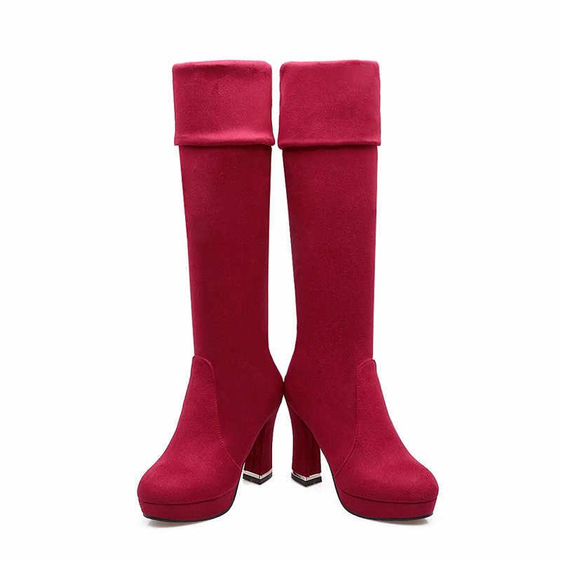 Asumer ใหม่มาถึงผู้หญิงสีดำสีแดงสีฟ้าสีน้ำตาลเข้มกว่าเข่ารองเท้าบูทรอบ Toe Super high ผู้หญิงรองเท้า