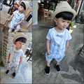 2015 fashion summer faux two piece gentleman sets child clothing boys clothing sets cool short-sleeve T-shirt+pants
