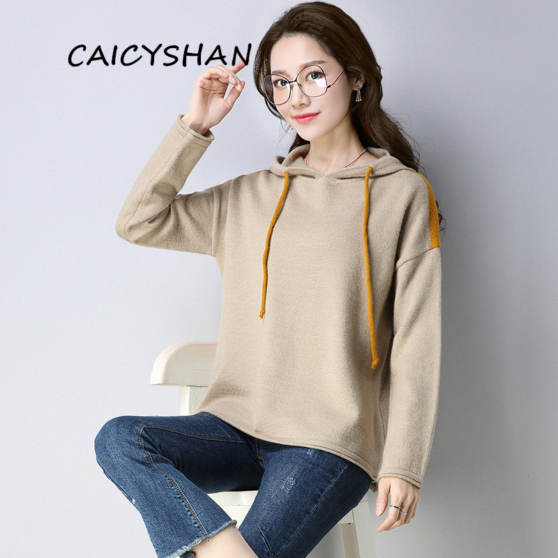 New Autumn Winter Women Sweater Plus Size Fashion Contrast Color Casual Loose Hooded Render Knitted Sweater For Women Pullovers