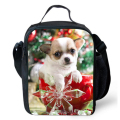 Portable Travel Lunch Bags Lunch Box Dog Cat Christmas Print Thermal Food Picnic Lunchbag Insulated Canvas lunch Bag