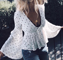 цены на women blouse fashion 2019  female ladies clothing womens top polka dots v-neck long sleeve shirt top 90s в интернет-магазинах