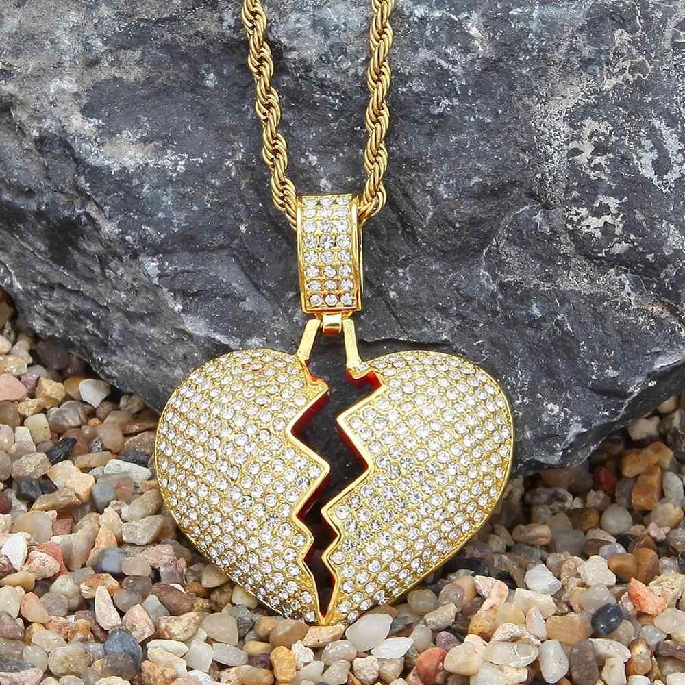 Stałe złamane serce Iced Out Bling łańcuszek wisiorek urok Neckalce dla kobiet mężczyzn złoto srebro Rhinestone naszyjniki biżuteria Hip Hop