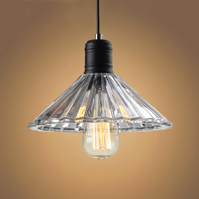 Retro Vintage Pendant Light Glass Crystal Umbrella Hanging Lamp E27 Pendant Lamp For Home Decor -Lampara Colgante